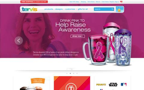 Screenshot of Home Page tervis.com - Tervis Insulated Drinkware - Official Store - captured Oct. 20, 2015
