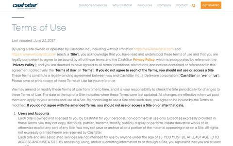 Screenshot of Terms Page cashstar.com - Terms of Use - CashStar - captured July 12, 2018