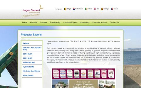 Screenshot of Products Page lagancement.com - Lagan Cement - Lagan Cement - captured Oct. 1, 2014
