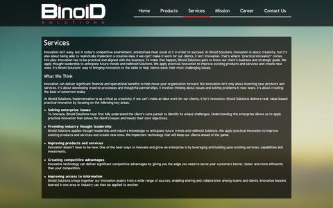 Screenshot of Services Page binoids.com - Services - captured Oct. 5, 2014