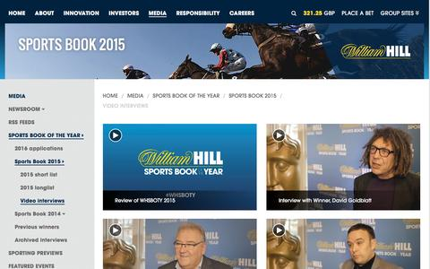 Screenshot of williamhillplc.com - William Hill PLC: Video interviews                 - Sports Book 2015                 - Sports Book of the Year                 - Media - captured Sept. 4, 2016