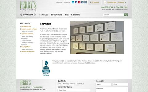 Screenshot of Services Page perrysjewelry.com - Services Home   Perry's Fine Antique & Estate Jewelry - captured Oct. 2, 2014