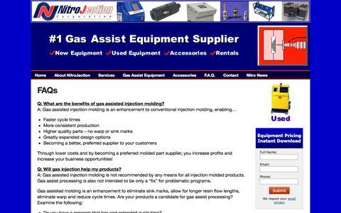Screenshot of FAQ Page nitrojection.com - NitroJection Corporation - Gas Assist Molding  FAQs - captured Oct. 7, 2014