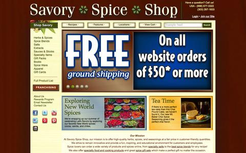 Screenshot of Home Page savoryspiceshop.com - Spices, Herbs & Seasonings Online | Savory Spice Shop - captured Sept. 19, 2014