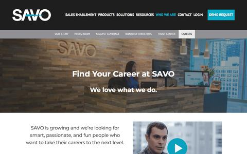 Talented? Bright? Creative? Find Your Career at SAVO
