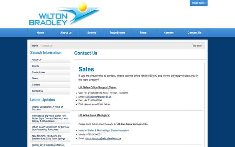 Screenshot of Contact Page wiltonbradley.com - Contact Us - captured Oct. 26, 2014