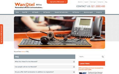 Screenshot of FAQ Page wanatel.co.za - Wanatel South Africa - Support | Wanatel - captured Oct. 7, 2014