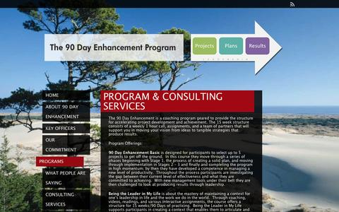 Screenshot of Products Page 90dayenhancement.com - Program & Consulting Services | The 90 Day Enhancement Program - captured Feb. 13, 2016