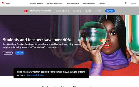 Screenshot of Pricing Page adobe.com - Adobe Creative Cloud for students and teachers | Adobe Creative Cloud - captured Jan. 21, 2020