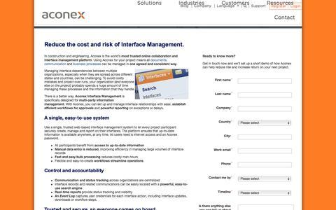 Screenshot of Landing Page aconex.com - Interface Management - Aconex - captured Aug. 19, 2016