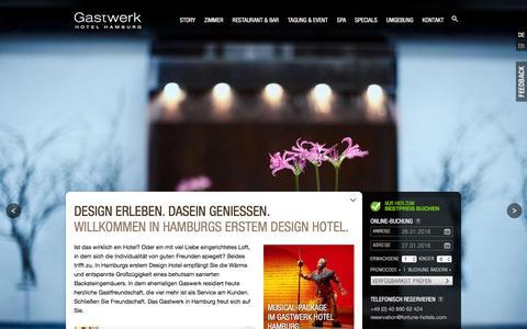 Screenshot of Home Page gastwerk.com - Hotel Hamburg Gastwerk | Erstes Design Hotel in Hamburg - captured Jan. 26, 2016