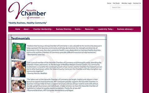 Screenshot of Testimonials Page vacavillechamber.com - Testimonials - Vacaville Chamber of Commerce, CA - captured Oct. 18, 2018