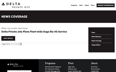 Screenshot of Press Page deltaprivatejets.com - News Coverage | Delta Private Jets | Delta Private Jets - captured April 15, 2019