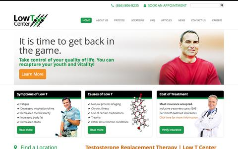 Screenshot of Blog About Page Privacy Page Contact Page Press Page Jobs Page FAQ Page Terms Page Testimonials Page Locations Page lowtcenter.com - Testosterone Replacement Therapy | Low T Center - captured Oct. 22, 2014