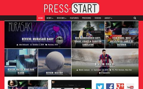 Screenshot of Home Page press-start.com.au - Press Start Australia - Bringing The Best Of Gaming To Australia - captured Oct. 3, 2014