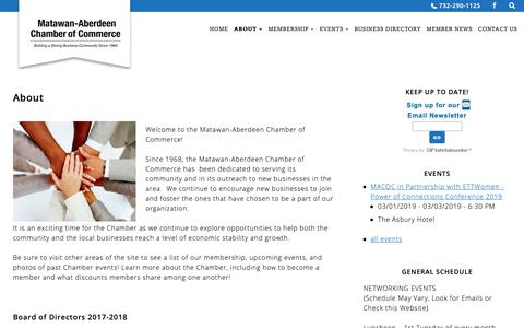 Screenshot of About Page macocnj.com - About - Matawan-Aberdeen Chamber of Commerce - captured Oct. 17, 2018