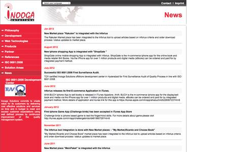 Screenshot of Press Page inooga.com - Welcome to the website of the Outsourcing and Offshore specialist Inooga Solutions - captured Oct. 6, 2014