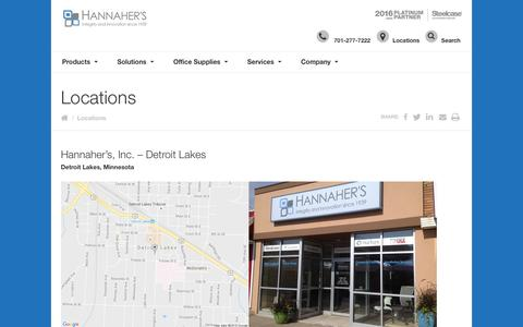 Screenshot of Locations Page hannahers.com - Locations - Hannaher's Inc. | Integrity and Innovations since 1939 - captured Oct. 23, 2016