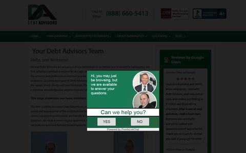 Screenshot of Team Page mydebtadvisors.com - Our Team - DEBT Advisors - captured Oct. 12, 2017