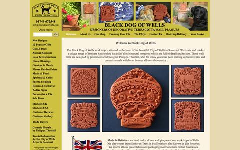 Screenshot of Home Page blackdogofwells.com - Unique range handmade terracotta wall decor - Black Dog of Wells - captured Sept. 30, 2014