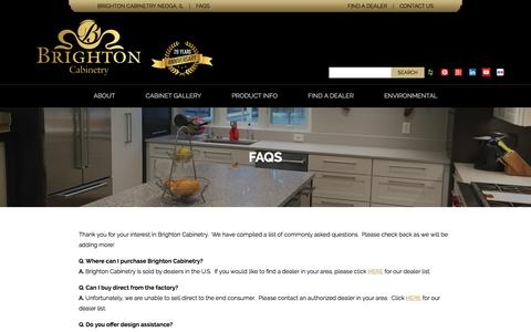 Screenshot of FAQ Page brightoncabinetry.com - FAQs - Brighton Cabinetry - captured Nov. 23, 2016
