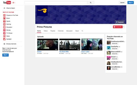 Screenshot of YouTube Page youtube.com - Prime Pictures  - YouTube - captured Oct. 23, 2014