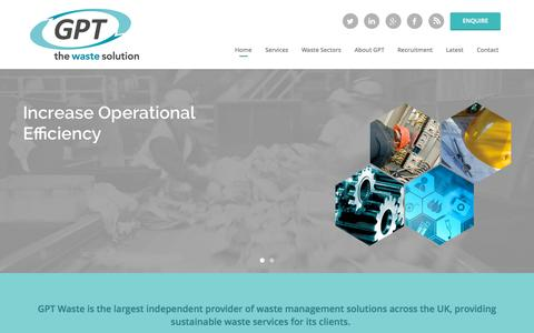 Screenshot of Home Page gptwaste.com - Waste Management Companies - GPT Waste Solutions - captured Sept. 30, 2015
