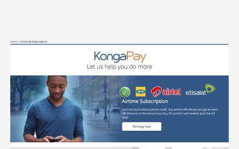 Screenshot of konga.com - Airtime & Subscriptions   Konga Nigeria - captured May 19, 2017