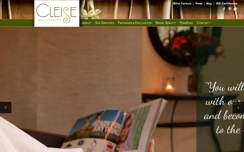 Screenshot of Home Page cleisespa.com - Cleise Brazilian Day Spa - captured Sept. 19, 2015