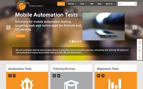 Screenshot of Home Page testomaton.com - Home - captured Feb. 28, 2016