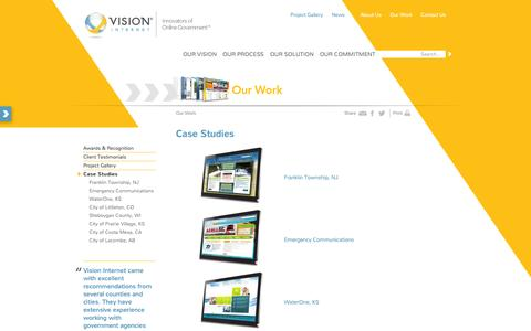 Screenshot of Case Studies Page visioninternet.com - Vision Internet - Innovators of Online Government : Case Studies - captured Oct. 29, 2014