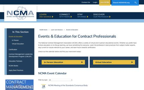 Screenshot of Locations Page ncmahq.org - CPE Events and Education | NCMA - captured Oct. 9, 2018