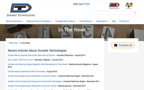 Screenshot of Press Page durable-tech.com - In the News | Durable Technologies - captured Oct. 13, 2017