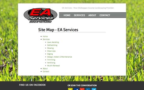 Screenshot of Site Map Page ea-services.com - Site Map - EA Services - captured Oct. 1, 2014