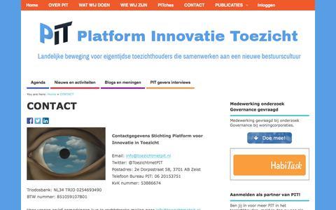 Screenshot of Contact Page toezichtmetpit.nl - CONTACT - Platform Innovatie Toezicht - captured July 11, 2017