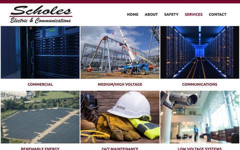 Screenshot of Services Page scholesonline.com - Services - Scholes Electric & Communications - captured Oct. 2, 2018