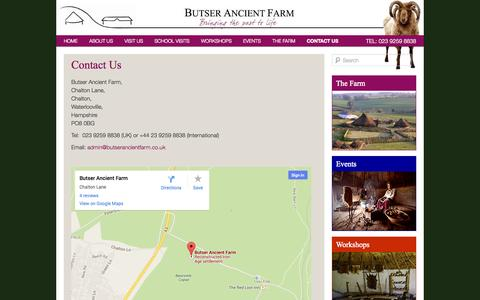 Screenshot of Contact Page butserancientfarm.co.uk - Contact Us | Butser Ancient Farm - captured Sept. 26, 2014