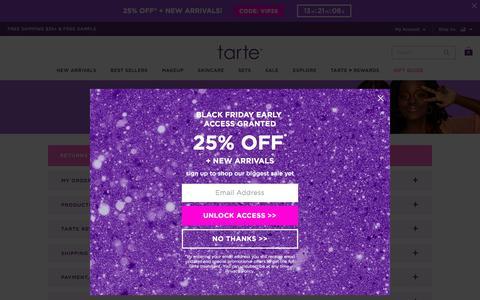 Screenshot of FAQ Page tartecosmetics.com - FAQs - captured Nov. 28, 2019
