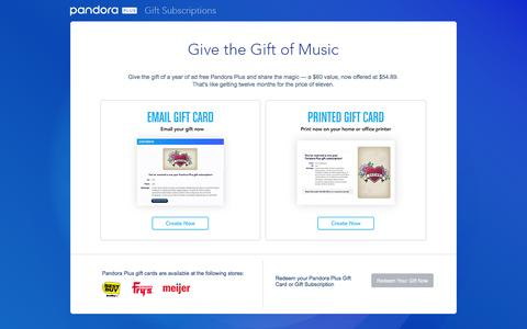 Screenshot of pandora.com - Give the gift of the best personalized, ad-free radio - Pandora Plus - to someone you care about. - Pandora Plus Gifts - captured Dec. 15, 2016