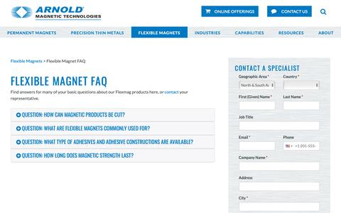 Screenshot of FAQ Page arnoldmagnetics.com - Flexible Magnetic Materials | FAQs | Arnold Magnetic Technologies - captured Oct. 4, 2018