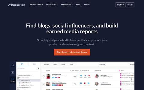 Screenshot of Home Page grouphigh.com - Marketing Software for Blog Outreach & Influencer Marketing - captured July 12, 2018