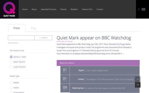 Screenshot of Press Page quietmark.com - Quiet Mark - Quiet Mark in the UK News - captured July 25, 2018