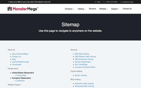 Screenshot of Site Map Page monstermegs.com - Sitemap | MonsterMegs - captured Nov. 23, 2015