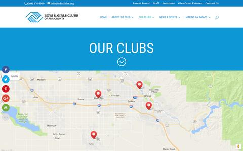 Screenshot of Locations Page adaclubs.org - Our Clubs | Boys & Girls Clubs Of Ada County - captured Nov. 23, 2016