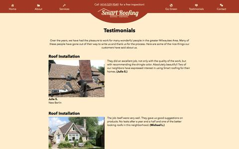 Screenshot of Testimonials Page smartroofingandsheetmetal.com - Testimonials – Smart Roofing - captured Oct. 22, 2017