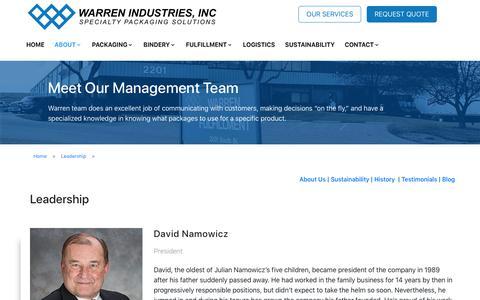 Screenshot of Team Page wrnind.com - Leadership - Warren Industries - captured Oct. 18, 2018