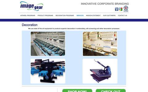 Screenshot of Services Page imagegear.com - Decoration : Image gear - captured Sept. 30, 2014