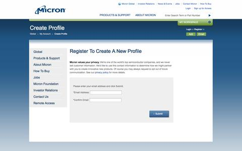Screenshot of Signup Page micron.com - Create - Micron Technology, Inc. - captured Oct. 10, 2014
