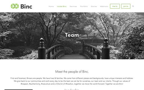 Screenshot of Team Page bincsearch.com - Team — Binc - captured Feb. 18, 2019