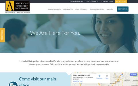 Screenshot of Contact Page apmortgage.com - Contact Us | American Pacific Mortgage - captured Feb. 6, 2016